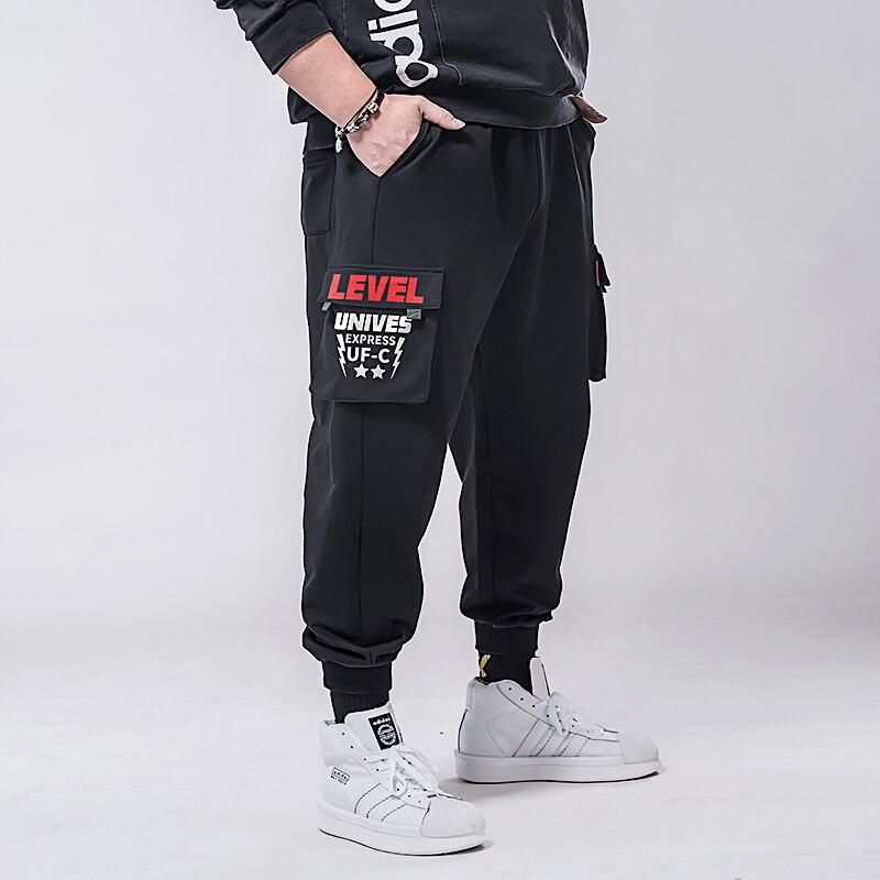 Plus Size 7xl 6xl 5xl Cargo Pants Men Solid Color Black Loose Casual Jogger Pocket Elastic Waist Ankle Length Trousers