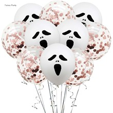 Twins 10Pcs Halloween Ghost Balloons Pumpkin Decoration Spider Bat Witch Skull Black Foil Balloon Globos For Party Decor