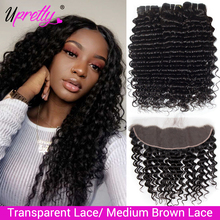 Upretty Hair Deep Wave Bundles With Frontal HD Transparent Lace Closure With Bundles Brazilian Human Hair 3 Bundles WIth Frontal
