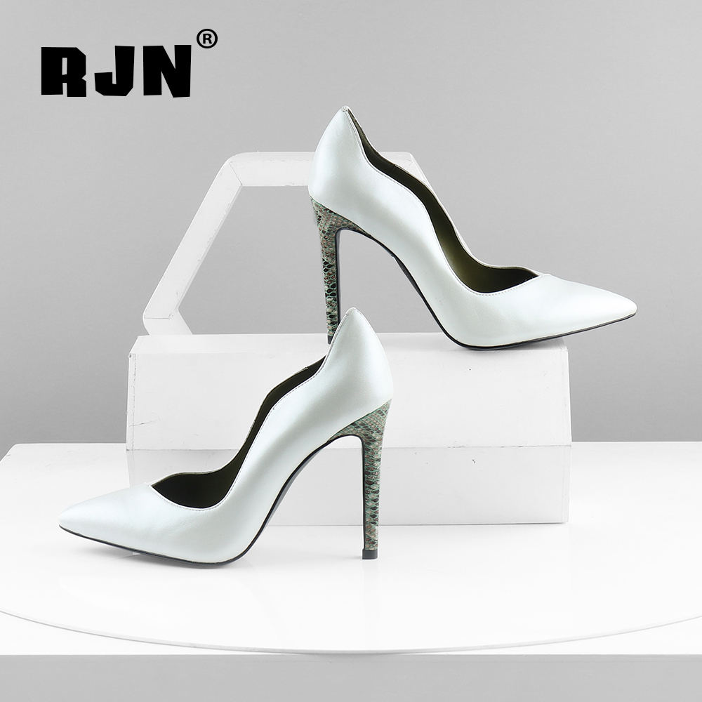 Cheap RJN Thin Heel Pumps Sexy Pointed Toe Fashion Design Lotus Leaf Shallow Party Lady Genuine Leather Shoes Handmade New Pumps RC597