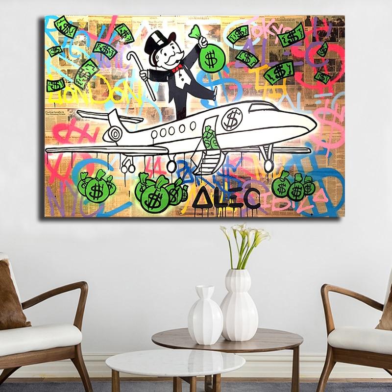 Décor à la maison toile Alec monopole impression Graffiti affiche peinture avion moderne argent mur Art salon Dollar modulaire photo