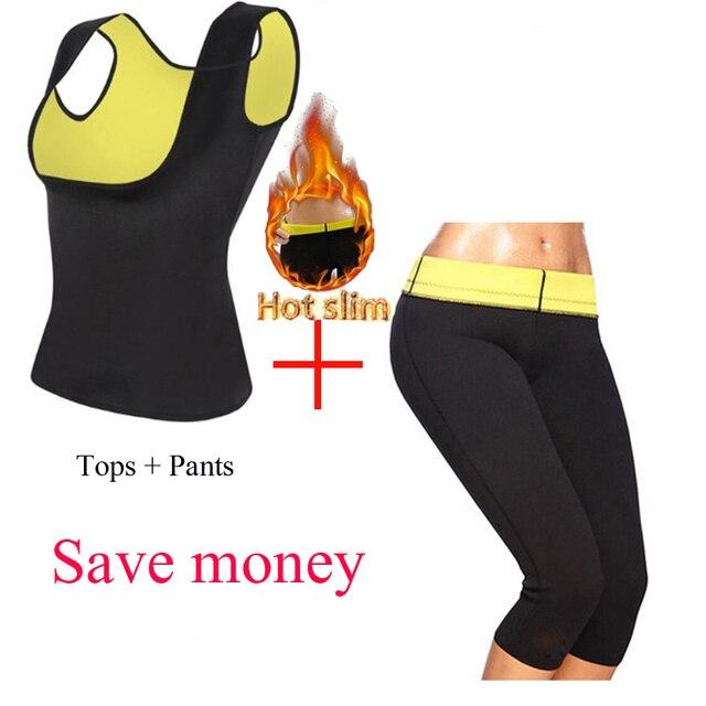 Conjunto de roupa modeladora do corpo, calças termo neoprene para mulheres calças de emagrecimento molde + colete sem mangas espartilho de controle de esticar