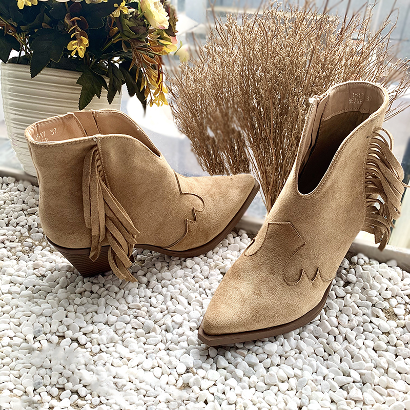 [GOGD] New Autumn Winter Women Boots High Quality Solid Lace-up European Ladies shoes PU Fashion Tassel high heels Boots 36-41