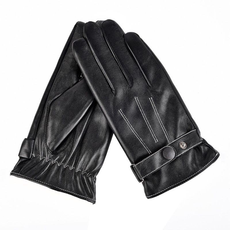 Winter Windproof PU Leather Gloves Outdoor Sports Running Driving Gloves Warm Touch Screen Gloves