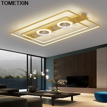 Rectangle led ceiling fan fans with lights remote control bedroom decor ventilator lamp air Invisible Silent black gold white