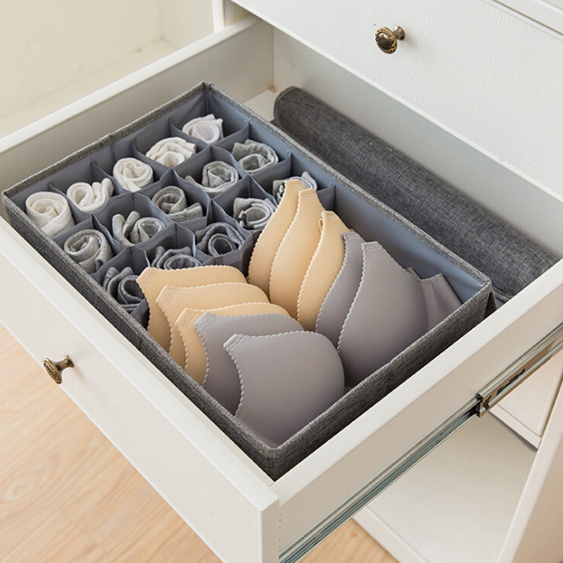 2 in 1 Foldable Drawer Organizers Storage Box Case For Bra Ties Underwear Socks Scarf Drawer Organizers|Drawer Organizers| |  - title=