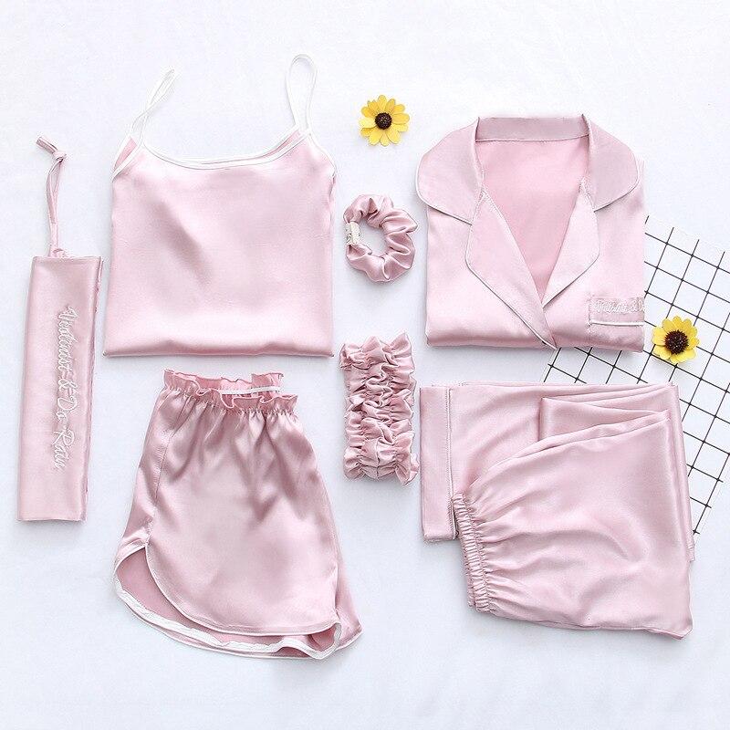 Sleepwear Sexy Pijama Women Nightsuit Satin Pyjamas Sets 2019 Summer Women Silk Pajamas Female Sleep Lounge 7 Pcs Pink Nightwear