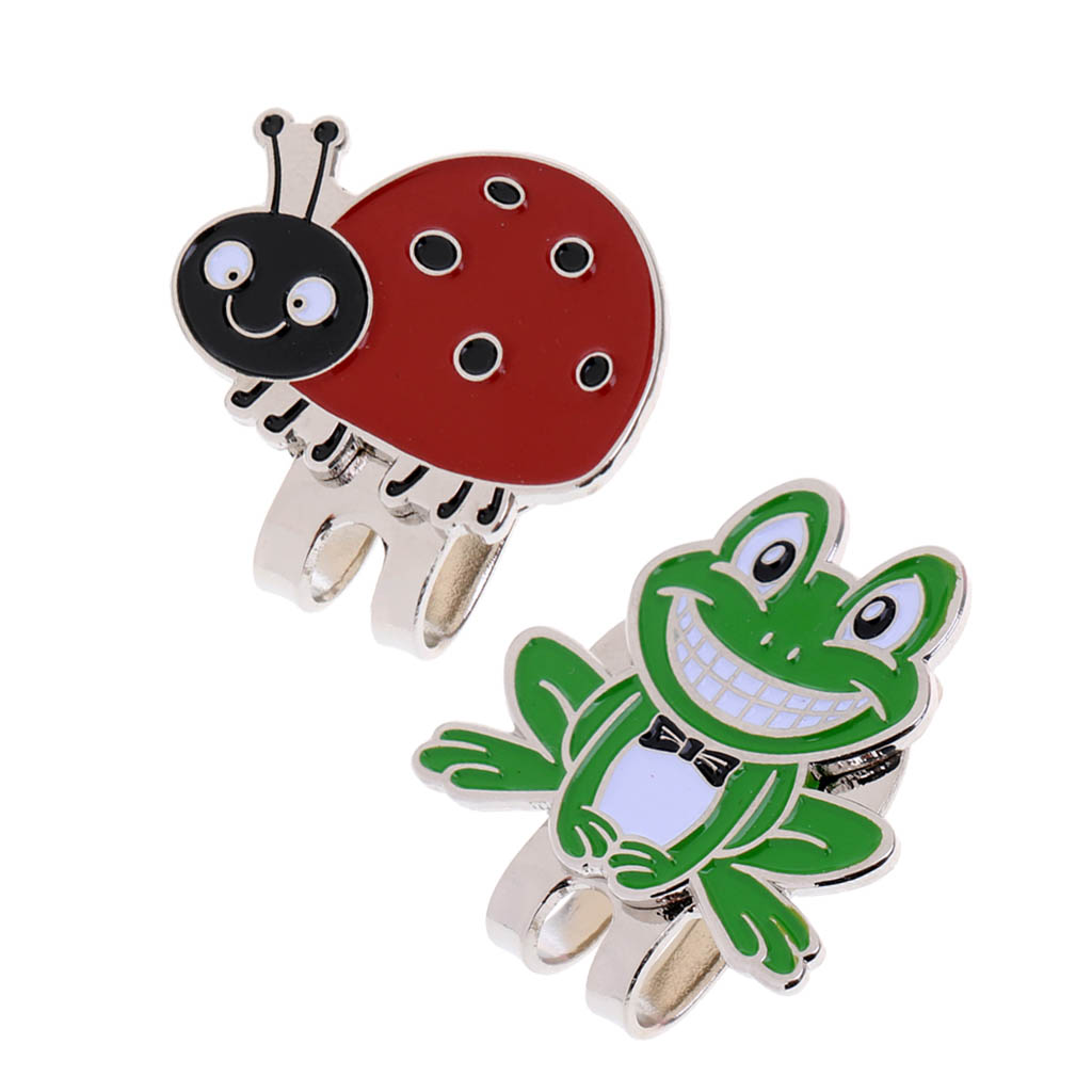 2x Frog & Ladybug Alloy Golf Marker With Magnetic Hat Clip Golfer Gift Present Club Awards Cap Clip Training Aids Accessories