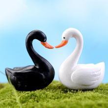 Маленький мини милый Гусь модель лебедя аквариума орнамент «Сказочный Сад» украшение миниатюрная Статуэтка DIY аксессуары для дома белый черный