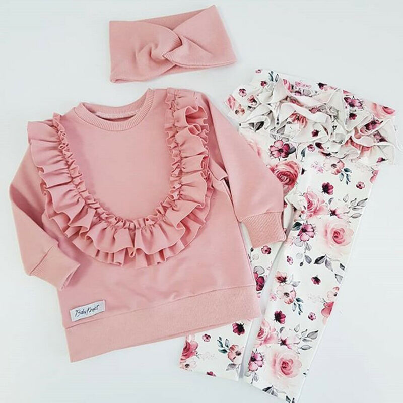 Imcute Baby Spring Autumn Fashion Flower Baby Girls Outfits Ruffle T-shirt Tops Pants Trousers Headband Clothes