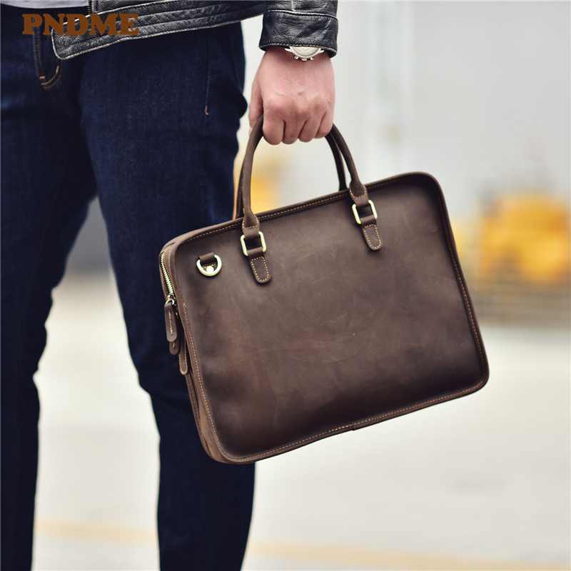 PNDME Simple Vintage High Quality Cowhide Men's Ladies Briefcase Fashion Casual Business Genuine Leather Handbag Laptop Bags