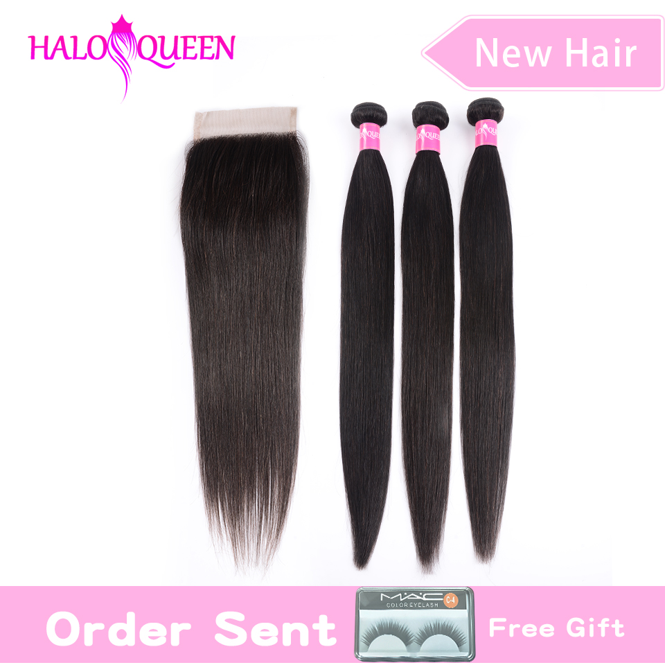 Straight Bundles With Closure Brazilian Hair Weave Bundles With 13x4 Lace Closure Human Hair Bundles With Closure Hair Extension
