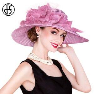 Image 4 - Fsブラックホワイトエレガント女性教会の帽子夏の花大つば帽子ビーチ日ケンタッキーダービー帽子fedora