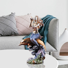 Mediterranean Style Mermaid Sounds of Nature Decoration European Retro Home Living Room Resin Craft