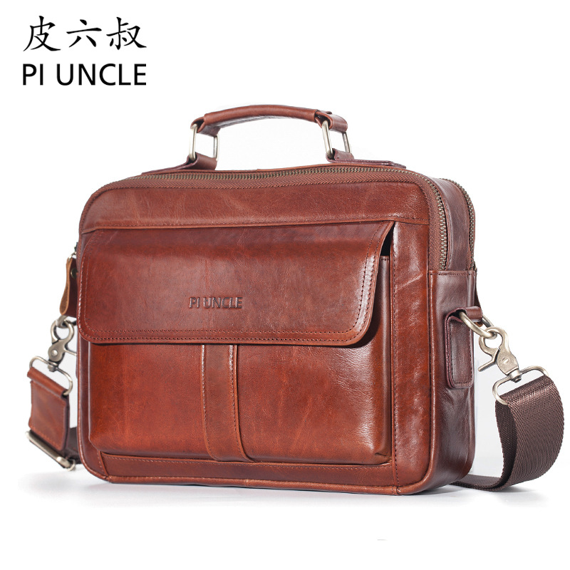 High Quality Genuine Leather Messenger Bag Men Shoulder Bag Briefcase Vintage Male Casual Handbag Cowhide Crossbody Bag Men