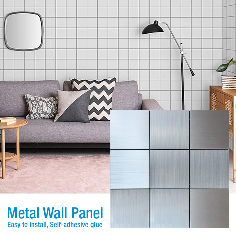 Self-adhesive 3D Metal Mosaic Wall Panel 3D Wall Sticker Vinyl Bathroom Kitchen Home Decor Kitchen Toilet Room TV Wall Sticker