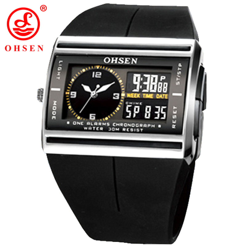 OHSEN Brand LCD Digital Dual Core Watch Waterproof Outdoor Sport Watches Alarm Chronograph Backlight Black Rubber Men Wristwatch