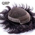 Для мужчин накладки человека системы замещения волос индийских шиньоны Для мужчин парик кружева и ПУ дышащая Для Мужчин's капиллярные проте...