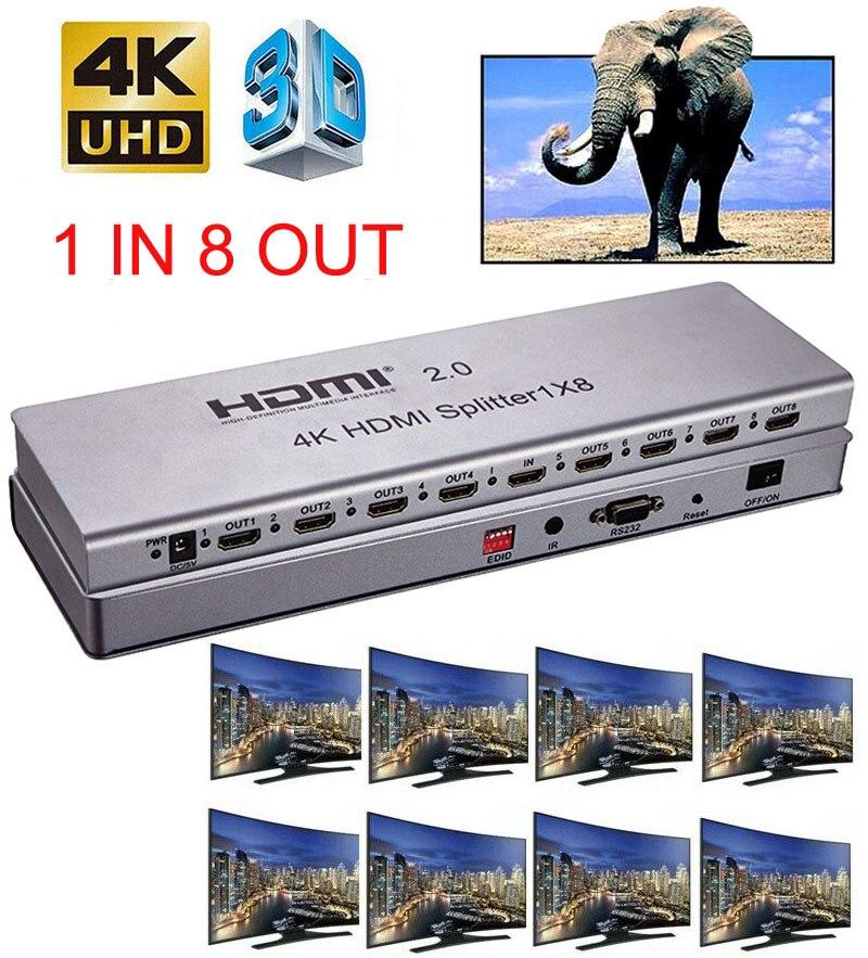 4K 1x8 HDMI 2.0 répartiteur 1 en 2 4 6 8 sortie 1x2 1x4 HDMI répartiteur vidéo convertisseur 4K 60HZ 3D EDID RS232 pour PS4 PC DVD à TV