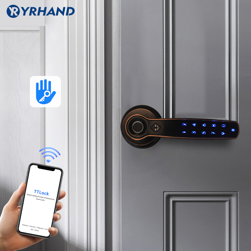 TT Lock APP WIFI Fingerprint Password Card Lock Smart Fingerprint Door Handle Lock For Home