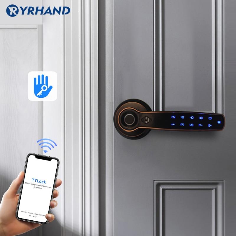 TT lock APP WIFI fingerprint password card lock smart fingerprint door handle lock for home
