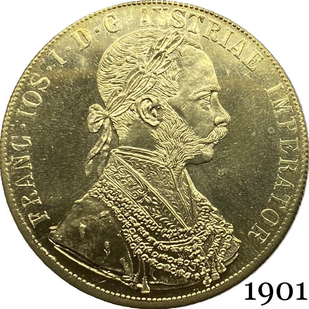 Австрия Habsburg 1901, 4 Дуката, Франц Иосиф, австрийский император, двойная головка, австрийский венгерский орел с короной, Золотая копия, монета
