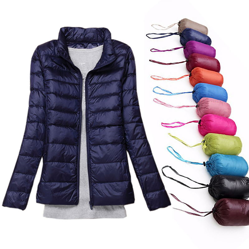 2019 New Brand 90% White Duck Down Ultra Light Jackets Women Autumn Winter Down Jacket Coat Female Zip Pocket Down Jacket Parkas