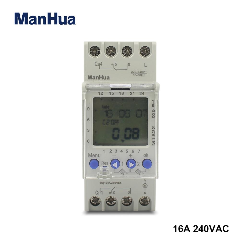 Manhua 250VAC MT822 2 canales con pantalla LCD, interruptor de temporizador Digital multifuncional de ciclo de 7 días Ultra grande, pantalla de 3