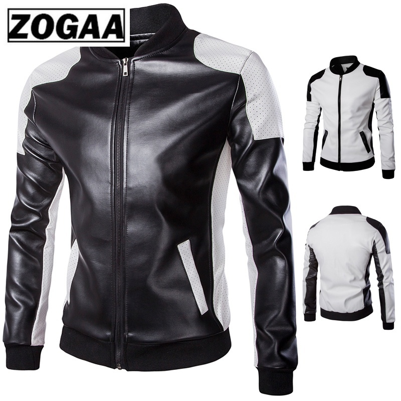 ZOGAA 2019 Autumn Men's Stand Collar Jacket Black White Stitching Big Yard Male Leather Coat High-quality Clothes Streetwear Men