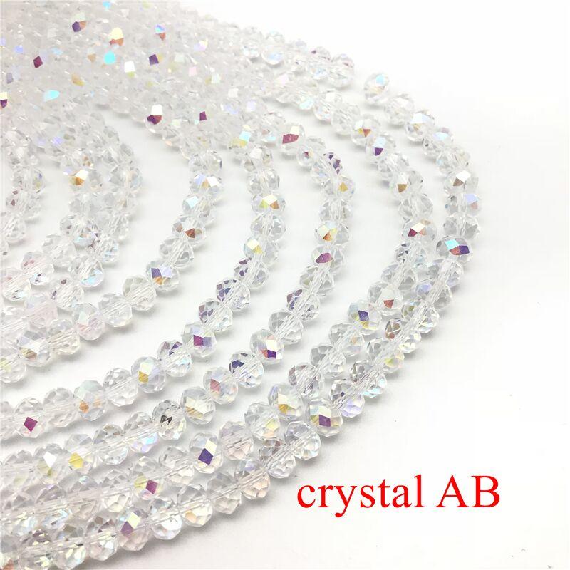 2X3/3X4/4X6/6X8 мм хрустальные бусины AB разноцветные стеклянные бусины Sapcer для ювелирных изделий ручное кольцо Ожерелье Изготовление DIY - Цвет: Crystal AB