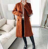 2019 Autumn and Winter Classic Wool Coat Women Single breasted Loose Ladies Coat Wool & Blends
