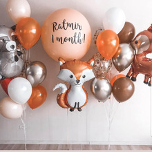 Background Balloons Deco Party-Decoration Deer Birthday Wedding Metal Silver Baby Fox