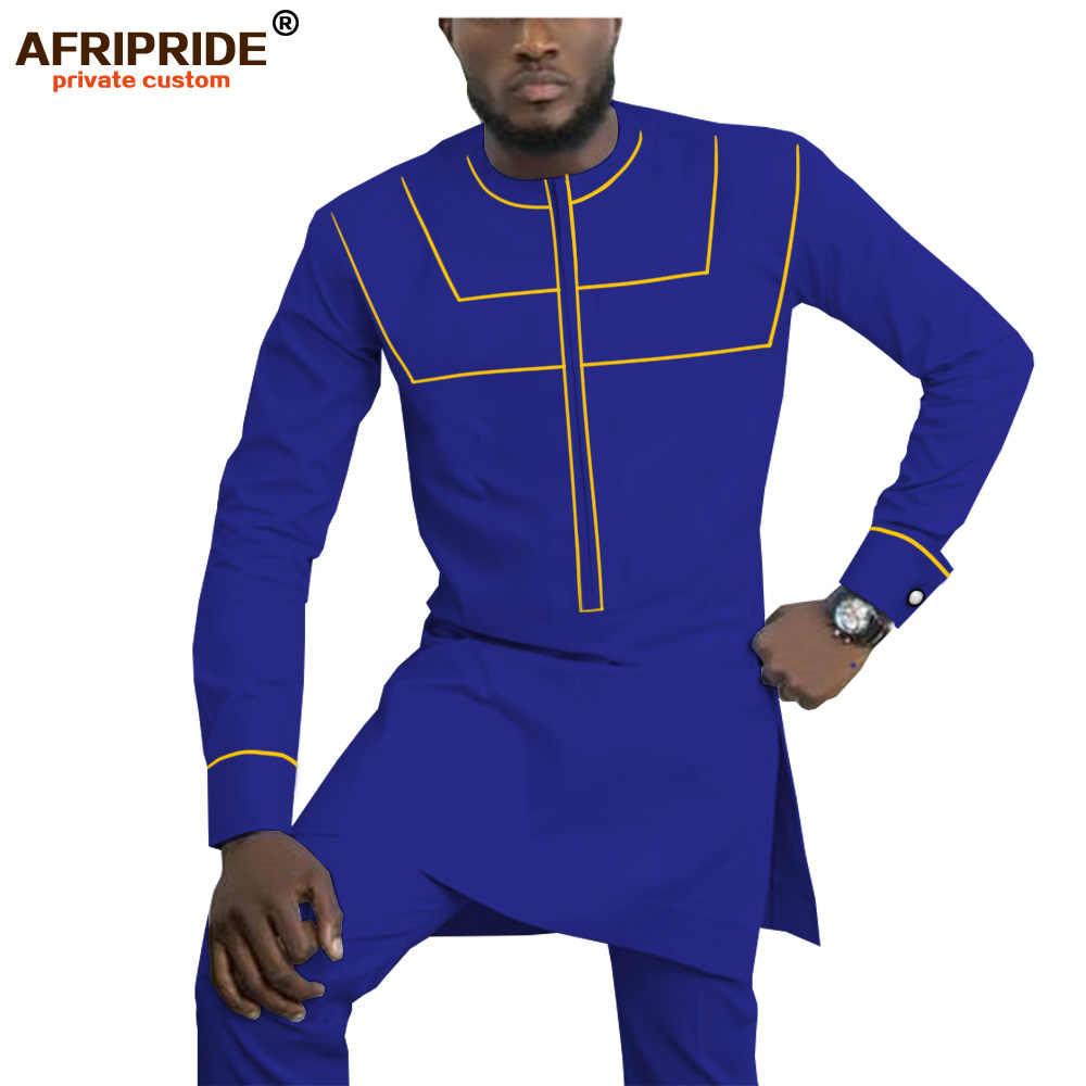 2019 afrika kıyafeti erkekler için Dashiki erkek kıyafetler gömlek + Ankara pantolon seti eşofman erkekler Tribal kıyafetleri AFRIPRIDE A1916055