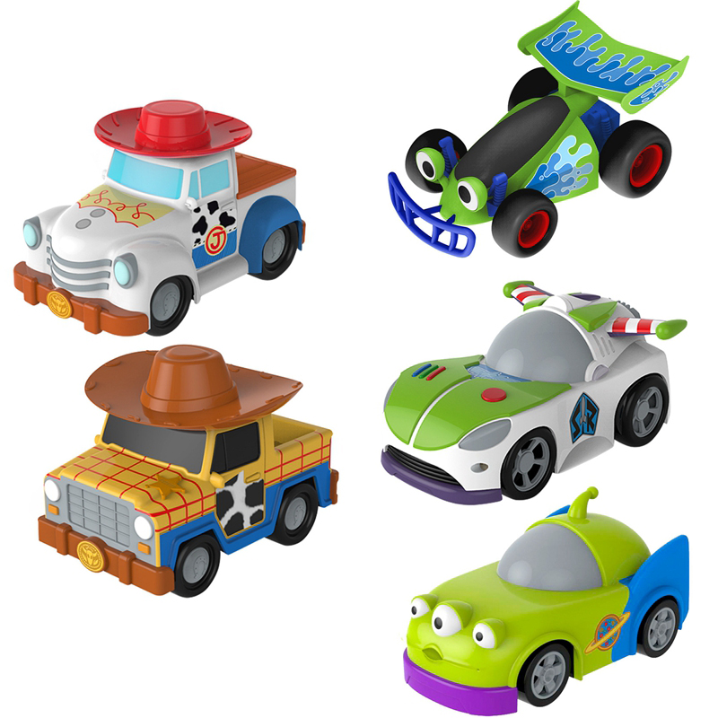 Disney Toy Story 4 Cartoon Character Friction Car Toy Woody Buss Jesse Alien Friction Car Child Collection Toy Birthday Gift