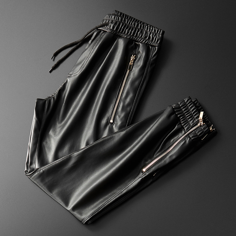 Thoshine Brand Men Leather Pants Superior Quality Elastic Waist Jogger Pants Zipper Pockets Faux Leather Trousers Pencil Pants