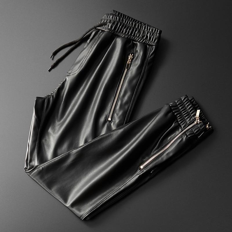 Thoshine Brand Men Leather Pants Superior Quality Elastic Waist Jogger Pants Zipper Pockets Faux Leather Trousers Pencil Pants