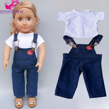 baby Doll clothes denim pants shirt for 18 inch american 45cm og dolls outfit toys wear children gift(China)