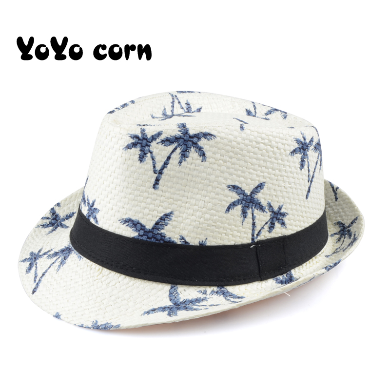 YOYOCORN Hot Sale Summer Straw Sun Hat Kids Beach Sun Hat Trilby Panama Hat Handwork For Boy Girl Children 4 Colour