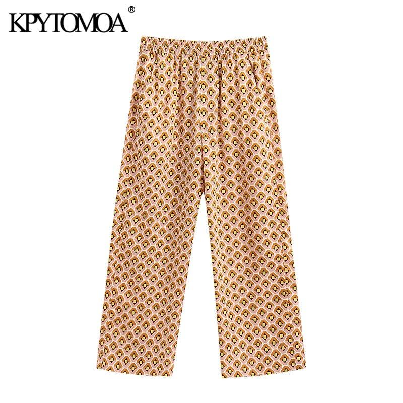 KPYTOMOA Women 2020 Chic Fashion Geometric Print Pants Vintage High Elastic Waist Side Pockets Female Ankle Trousers Pantalones