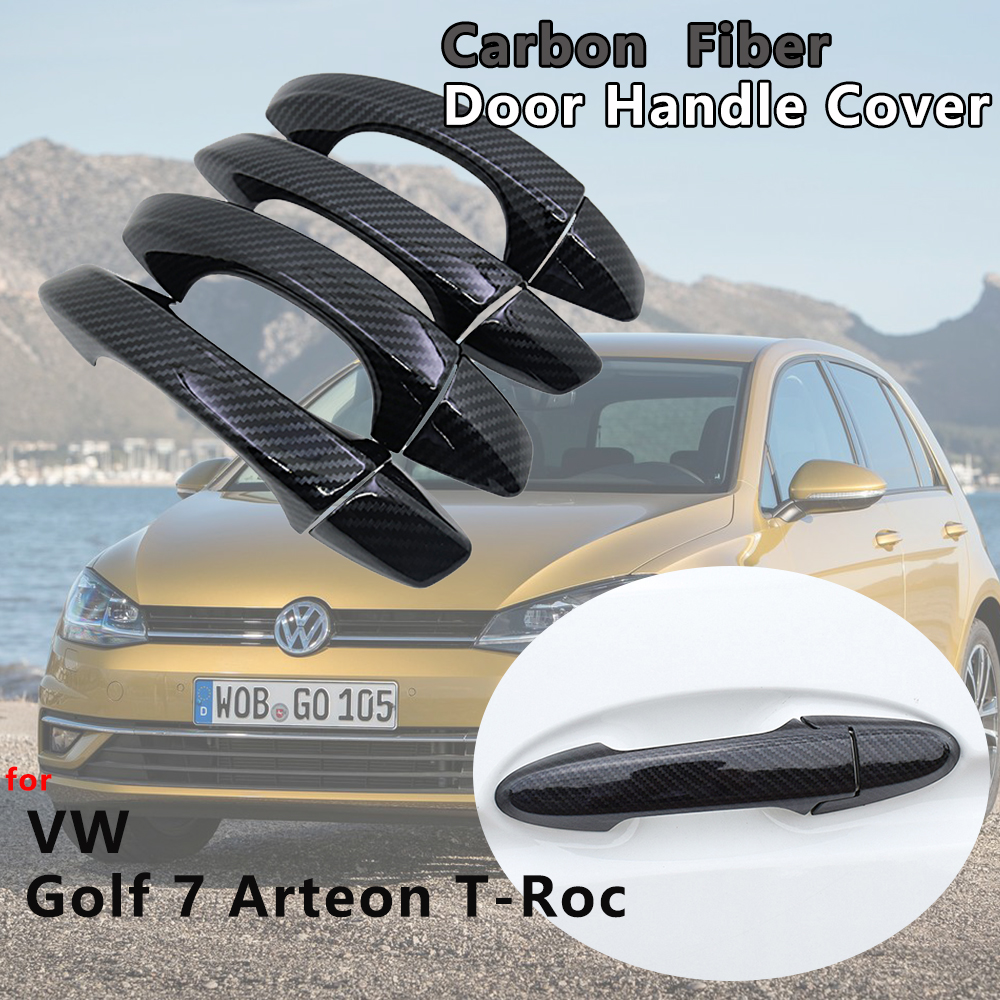 4 PCS Exterior <font><b>Carbon</b></font> <font><b>Fiber</b></font> Door Handle Cover Catch Trim Car Accessories for VW Volkswagen <font><b>Golf</b></font> <font><b>7</b></font> T-Roc Arteon 2013 2017 2018 image