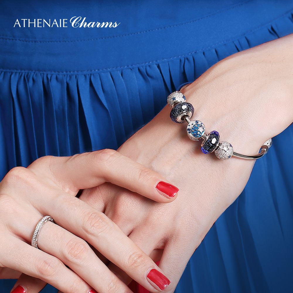 Image 4 - ATHENAIE Authentic 925 Sterling Silver Starry Sky Charms Bracelet Bangles with CZ Charm Beads for Women Christmas Day GiftBracelets & Bangles   -