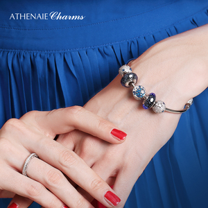 Image 4 - ATHENAIE Authentic 925 Sterling Silver Starry Sky Charms Bracelet Bangles with CZ Charm Beads for Women Christmas Day Gift