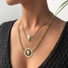 Rétro style lion tête couronne pendentif alliage multicouche collier femelle Offre Spéciale N7538