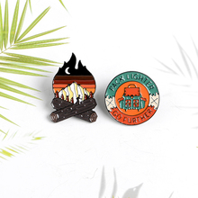 Outdoor Adventure Enamel Pin Mountain Forest Campfire Backpack Explore Nature Travel Brooches Gift for Adventure lover murray w key words 12b mountain adventure