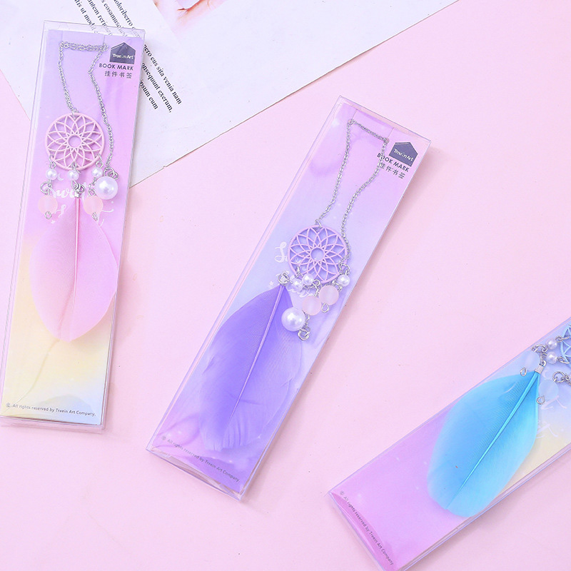 Creative Pearl Pendant Book Mark Cute Feather Bookmarks For Book Kids Girls Gift School Office Supplies Korean Stationery