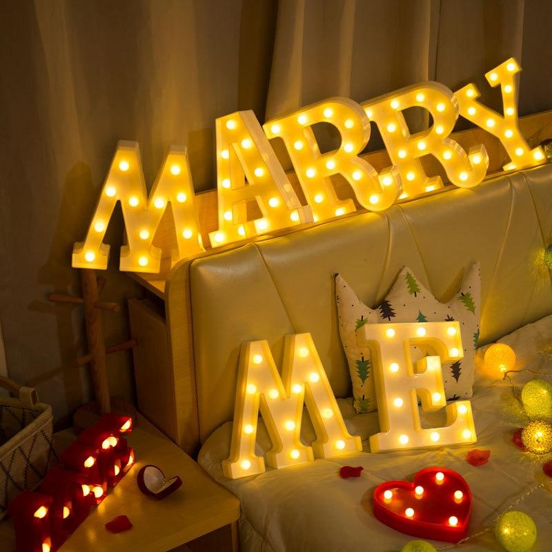 Creative 26 English Alphabet Number Luminous LED Letter Night Light Battery Lamp Romantic Wedding Party Decoration