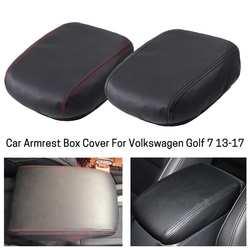Couro do plutônio carro braço capa guarnição console central tampa acessórios do carro para vw golf 7 mk7 2013 2014 2015 2016 2017