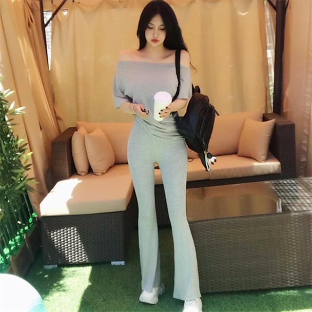 SEXY 2 Piece Sets Womens Outfits Spring Summer Women T Shirt High Waist Pants Wide Leg Womens Long Trousers Two Piece Set Grey 1