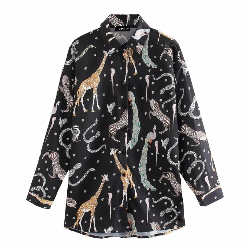 New Women Vintage Animal Print Casual Smock Shirts Blouses Women Turn Down Collar Business Roupas Femininas Chemise Tops LS6173