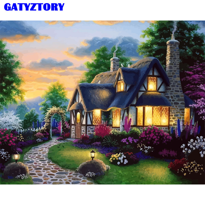 Frame Picture Countryside DIY Painting By Numbers Landscape Kits Modern Wall Art Picture Unique Gift For Home Decoration Artwork